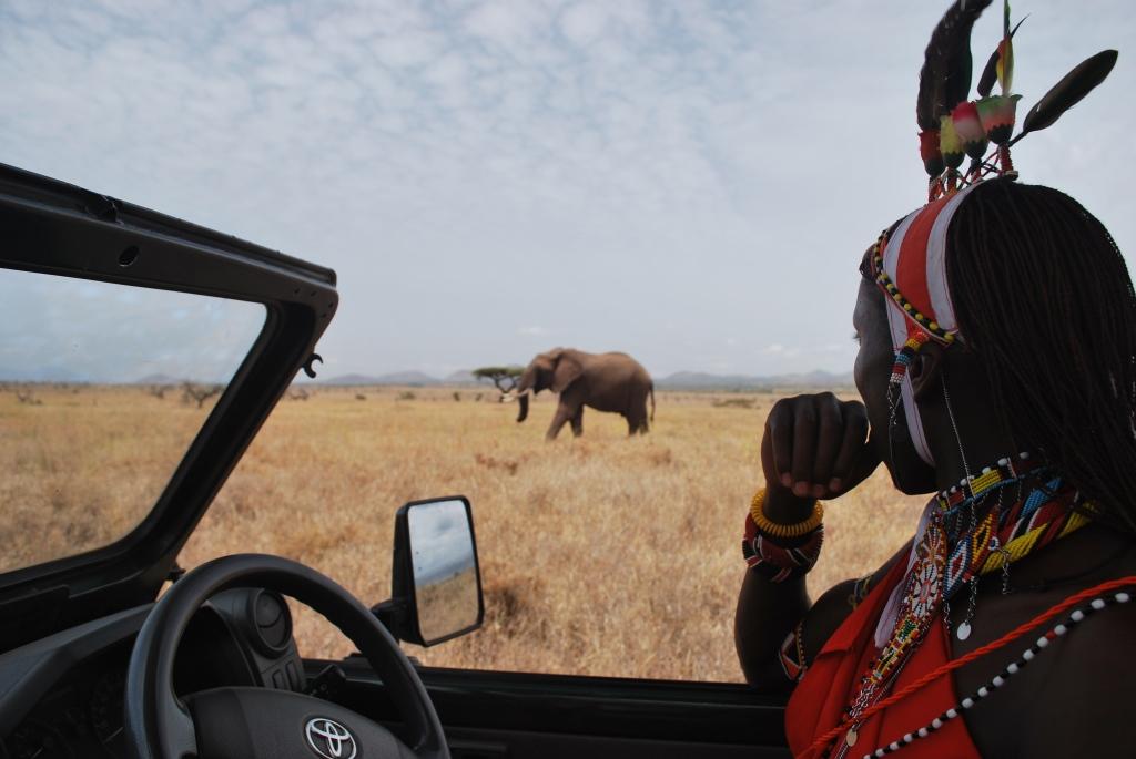 Francis and Bull Elephant - Lewa