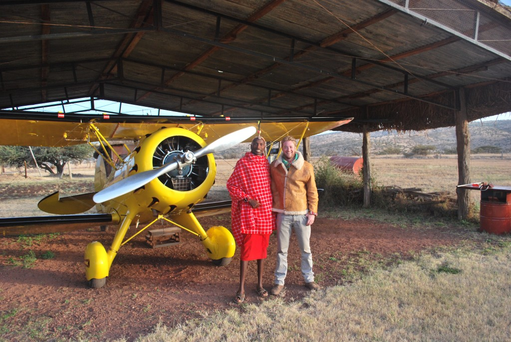 With Francis in front of Will Craig's Waco - Lewa Wilderness